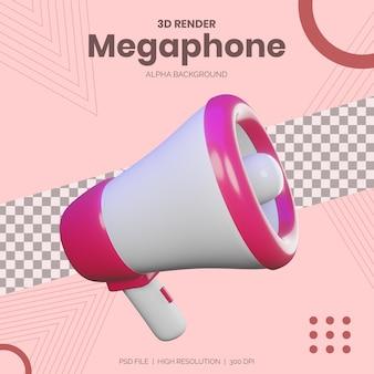 3d render megafono per mockup di progetti pubblicitari