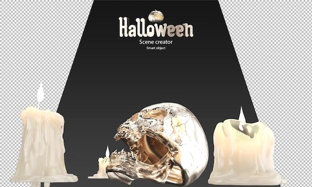 Rendering 3d di candele che si sciolgono e teschio dorato halloween prop