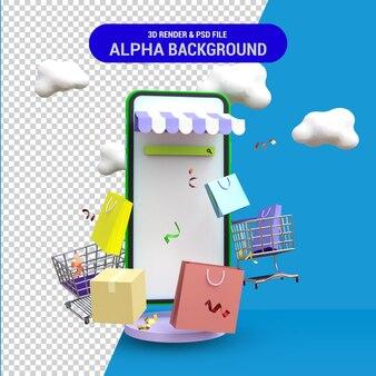 3d rendono il concetto di acquisto online di marketing mobile