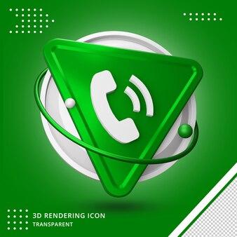 Rendering 3d telefono cellulare o chiamata icona design