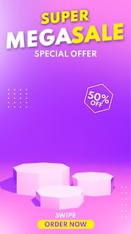 Rendering 3d vendita moderna sul podio esagonale per il posizionamento della presentazione del prodotto