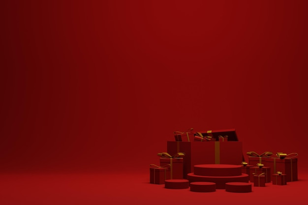 3d rendono il fondo rosso moderno della scena del podio di natale per la pubblicità del prodotto