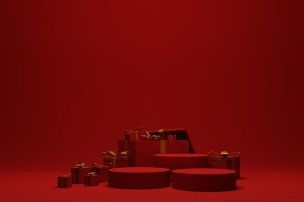 3d rendono il fondo rosso moderno della scena del podio di natale per l'esposizione del prodotto