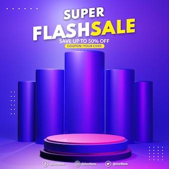 Rendering 3d display di vendita flash podio viola moderno per il posizionamento della presentazione del prodotto