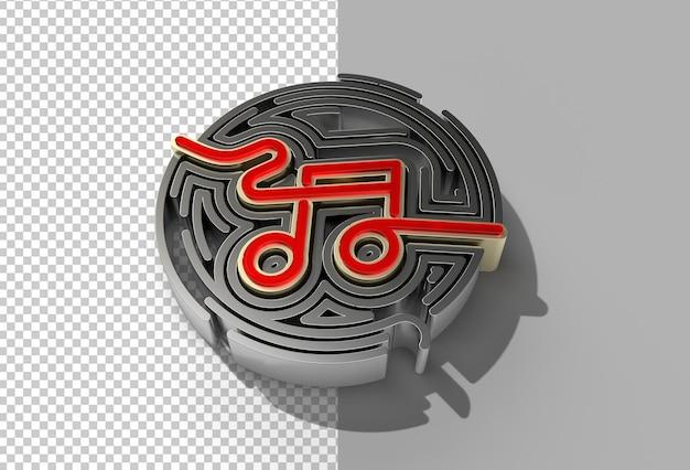 3d render music notes illustration design file psd trasparente.