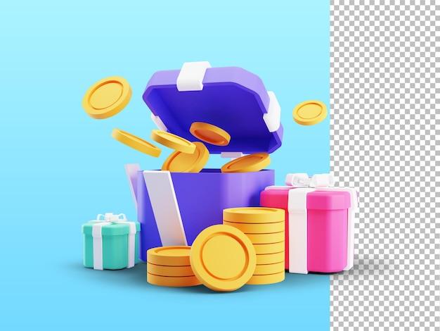 Rendering 3d di una confezione regalo aperta a sorpresa guadagna punti programma fedeltà e ottieni ricompense Psd Premium