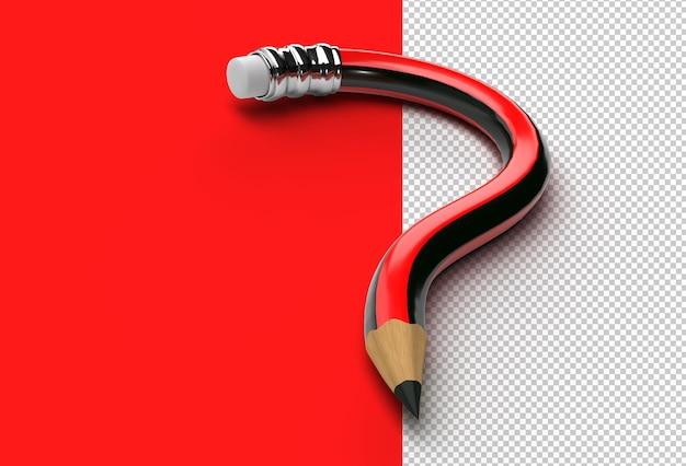 3d render matita punto interrogativo file psd trasparente. Psd Premium