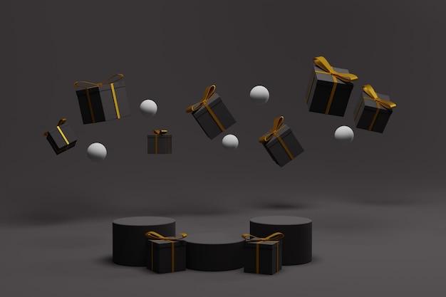 Podio di rendering 3d per la visualizzazione di natale