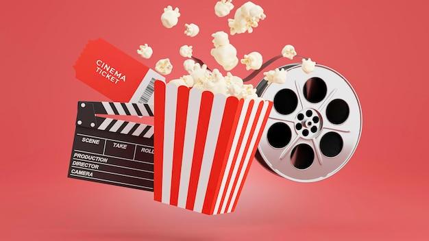 Rendering 3d di popcorn con l'ora del cinema