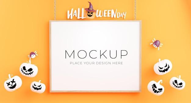 Rendering 3d di poster o cornice con il concetto di shopping di halloween felice per l'esposizione del prodotto