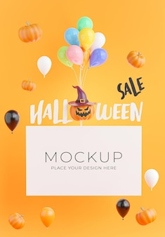 Rendering 3d del poster con il concetto di vendita dello shopping di halloween per l'esposizione del prodotto