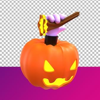 Prospettiva frontale di halloween di zucca di rendering 3d