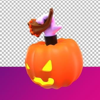 Prospettiva laterale di halloween di zucca di rendering 3d