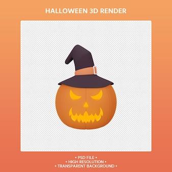 Rendering 3d di zucca e cappello da strega halloween concept