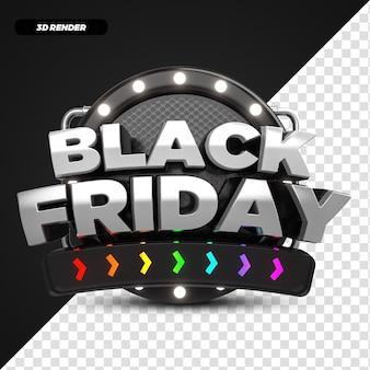 3d render rainbow black friday offerta etichetta promozionale