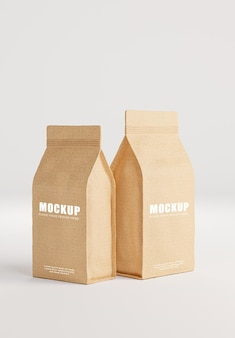 Rendering 3d della scatola di caffè realistica su priorità bassa bianca per i vostri prodotti