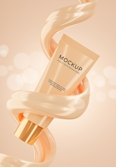Rendering 3d della bottiglia cosmetica realistica con crema di fondazione per i tuoi prodotti Psd Premium