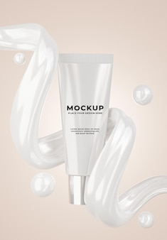 Rendering 3d della bottiglia cosmetica realistica con crema di fondazione per i tuoi prodotti