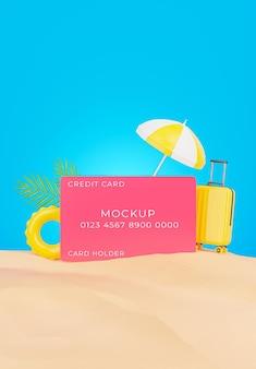 Rendering 3d di carta di credito realistica sulla spiaggia di sabbia per la promozione estiva