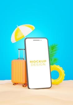 Rendering 3d di smartphone realistico sulla spiaggia di sabbia per la promozione estiva