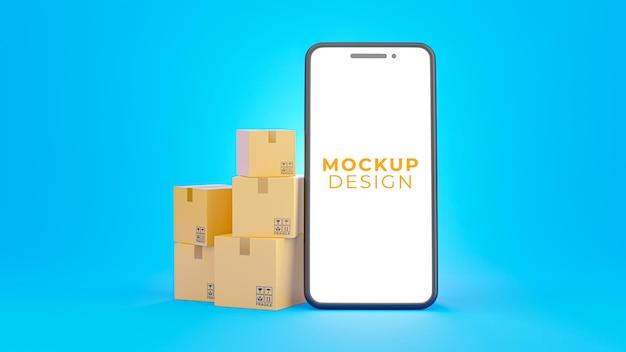 Rendering 3d di smartphone realistico con scatola di cartone per la visualizzazione del prodotto