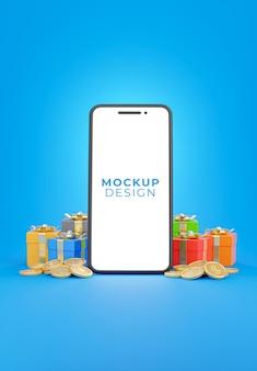 Rendering 3d di smartphone realistico con set di regali per la visualizzazione del prodotto