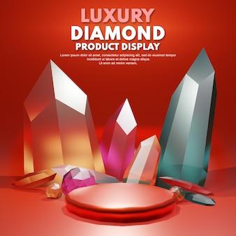 3d rendono il diamante rosso di lusso per il posizionamento della presentazione del prodotto