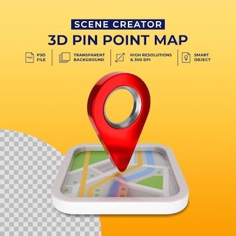 3d render rosso mappa puntatore icona isolato scena creatore