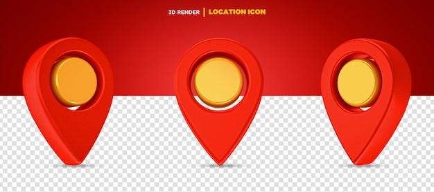 3d rendono l'icona della posizione rossa e gialla isolata
