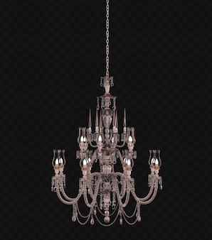 Rendering 3d lampadario retrò isolato su sfondo nero