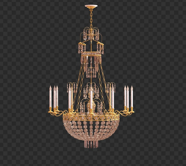Rendering 3d lampadario retrò isolato