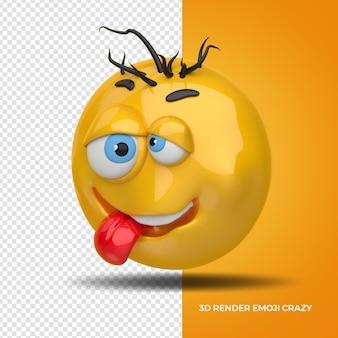 3d render destra emoji crazi per la composizione