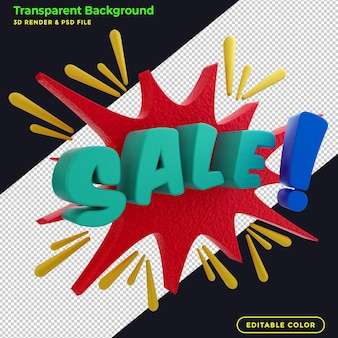 3d render vendita banner promozionale