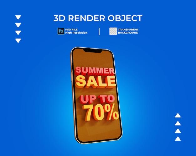 Rendering 3d di banner di vendita con telefono