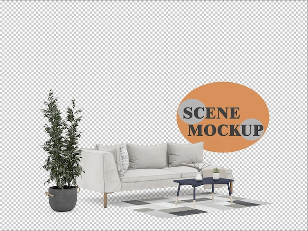 Mockup di scena di rendering 3d decorato con mobili