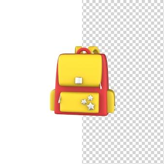 3d rendono l'icona della borsa di scuola isolata fondo bianco