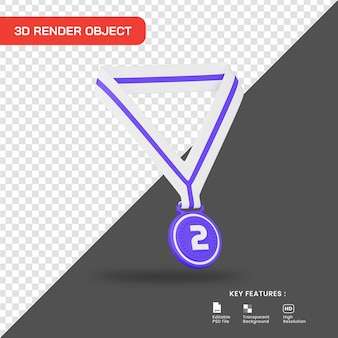 3d rende l'icona della medaglia del secondo posto