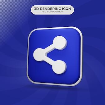 Rendering 3d del design dell'icona di condivisione