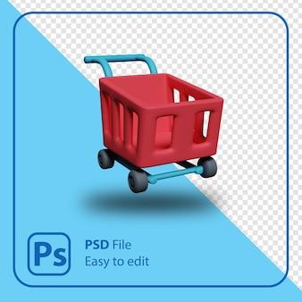 Rendering 3d illustrazione del carrello della spesa isolato
