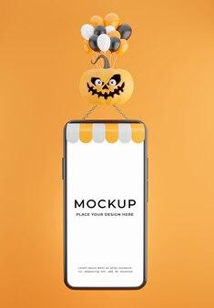 Rendering 3d dello smartphone che galleggia in mongolfiera con il concetto di sconto di halloween per la visualizzazione del prodotto