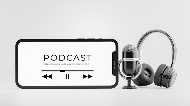 Rendering 3d delle cuffie con microfono per smartphone con mockup di concetto di podcast