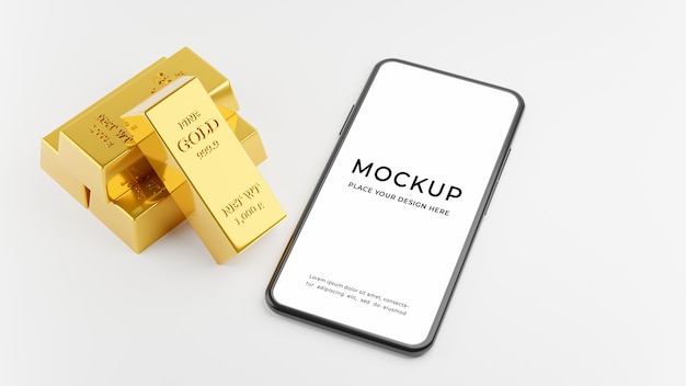 Rendering 3d di smartphone con lingotto d'oro