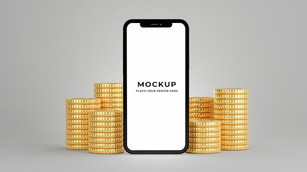 Rendering 3d di smartphone con pila di monete d'oro