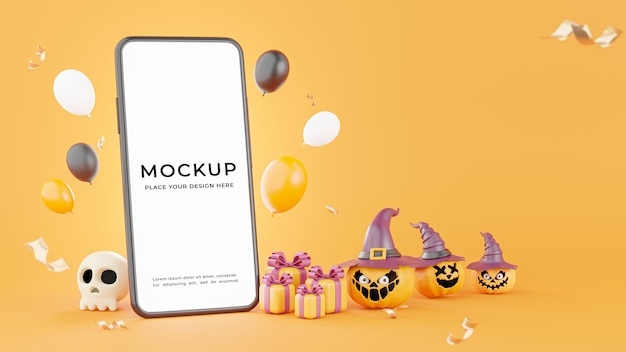 Rendering 3d di smartphone con il concetto di sconto di halloween per la visualizzazione del prodotto