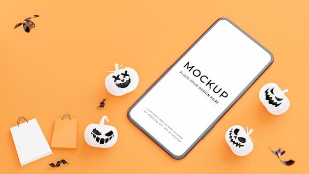 Rendering 3d di smartphone con concetto di shopping di halloween