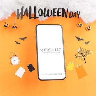 Rendering 3d di smartphone con felice giorno di halloween per la visualizzazione del tuo prodotto