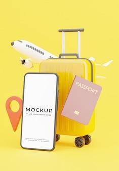 Rendering 3d di smartphone con design mockup concetto di turismo