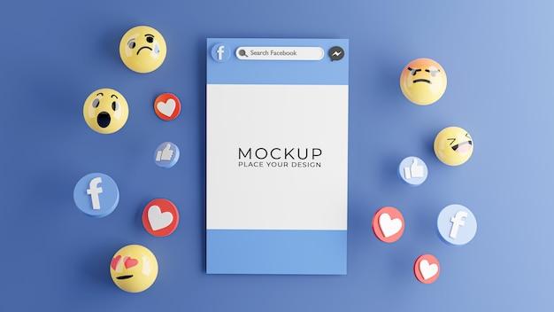 Rendering 3d di smartphone con mockup di icona di facebook