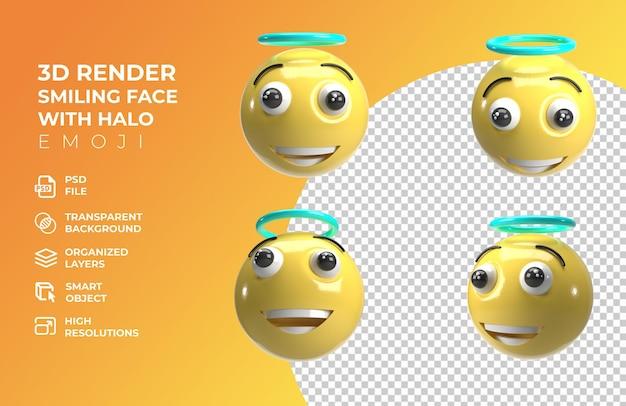 3d render faccia sorridente con aureola emoji