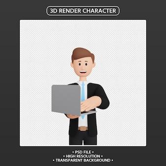 3d rendono il personaggio sorridente dell'uomo con il computer portatile